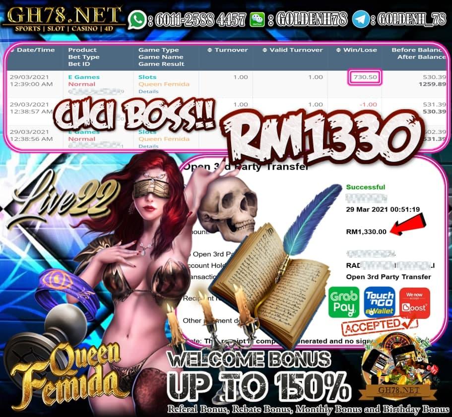 LIVE22 QUEEN FEMIDA GAME CUCI RM1330