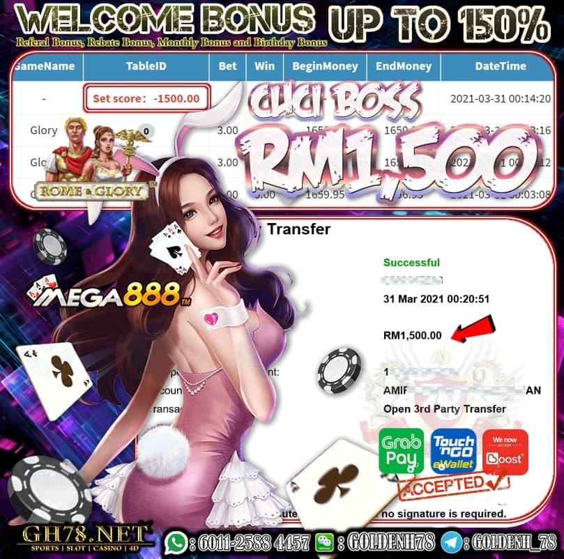 MEGA888 GLORY GAME CUCI RM1500