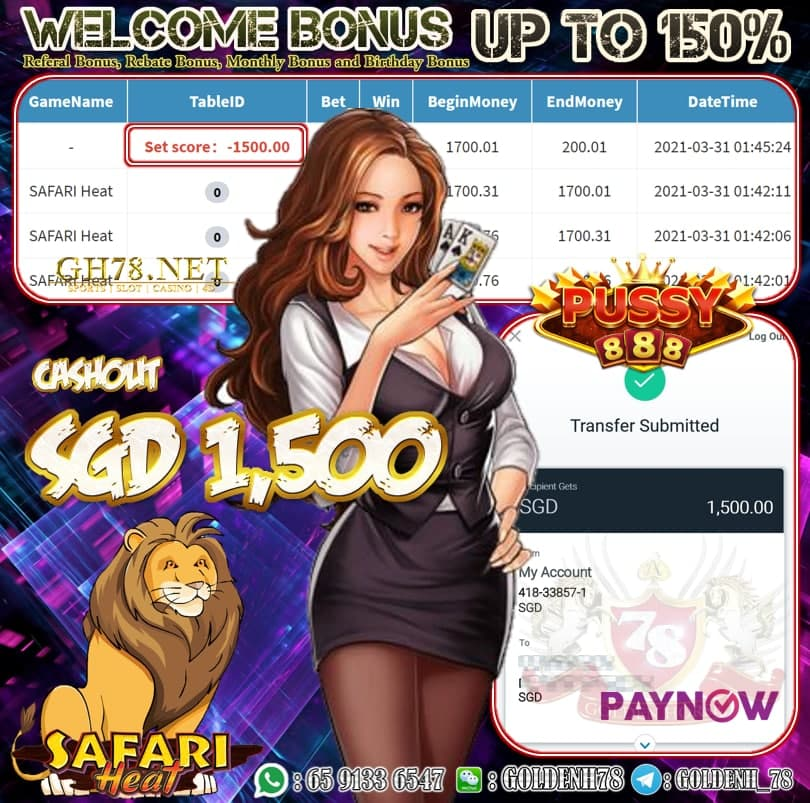 PUSSY SAFARI HEAT GAME CASHOUT SGD1500