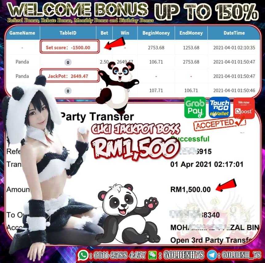 PUSSY888 PANDA GAME JATUH JACPOT CUCI RM1,500