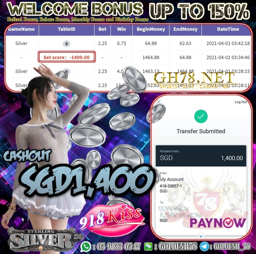 918KISS SILVER GAME CASHOUT S$1,400