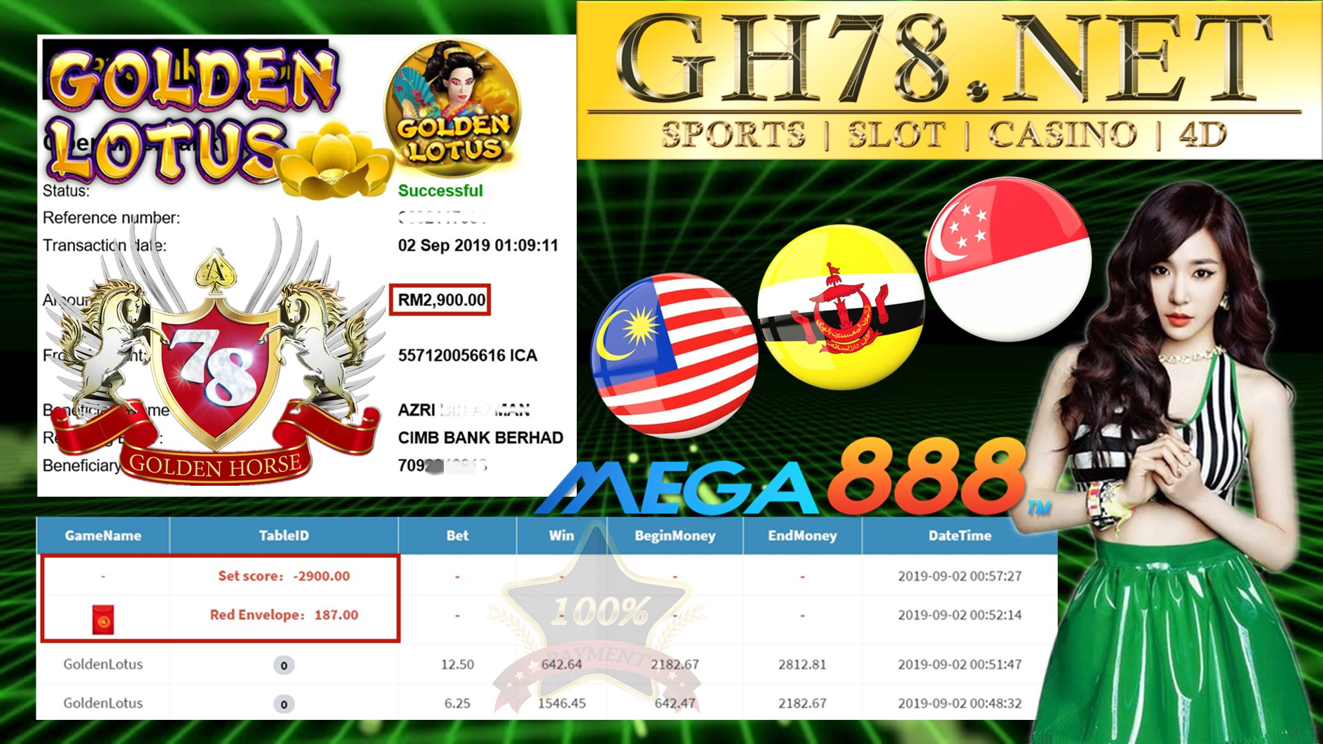 MEMBER MAIN GAME MEGA888 FT.GOLDENLOTUS MINTA OUT RM2,900
