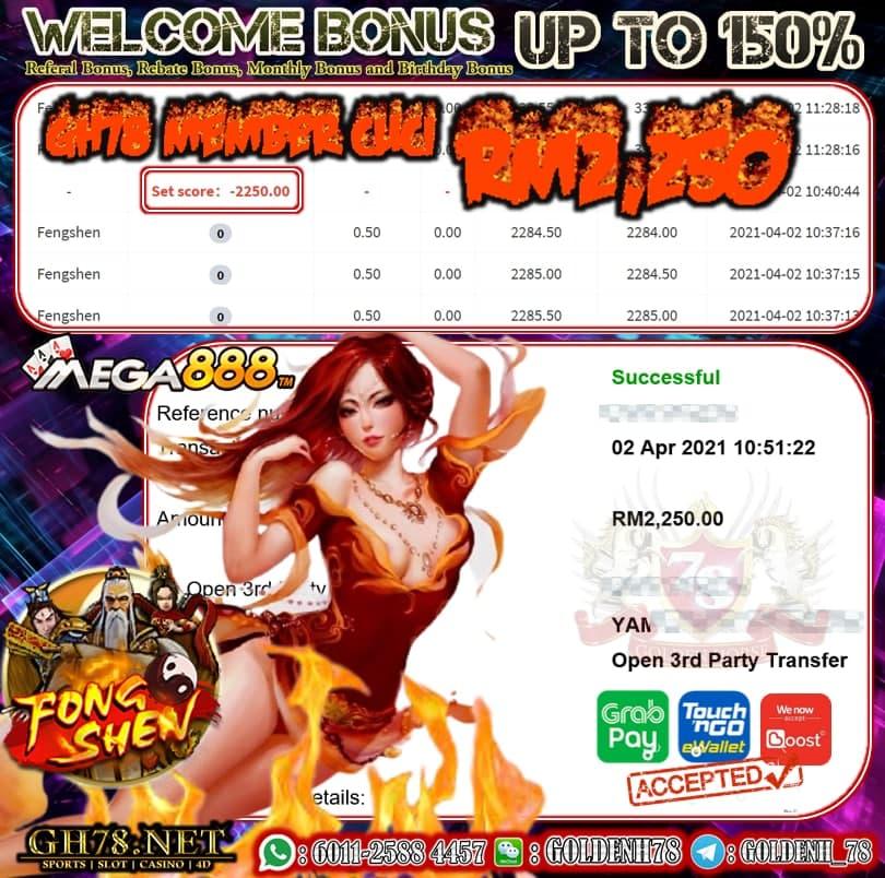 MEGA888 FENGSHEN GAME CUCI RM2250