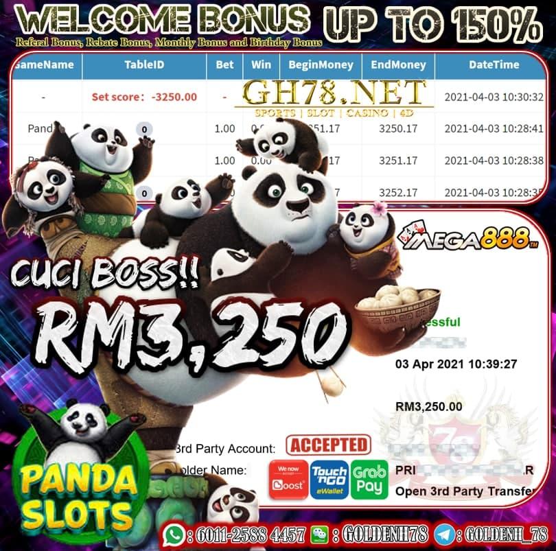 MEGA888 PANDA GAME CUCI RM3,250