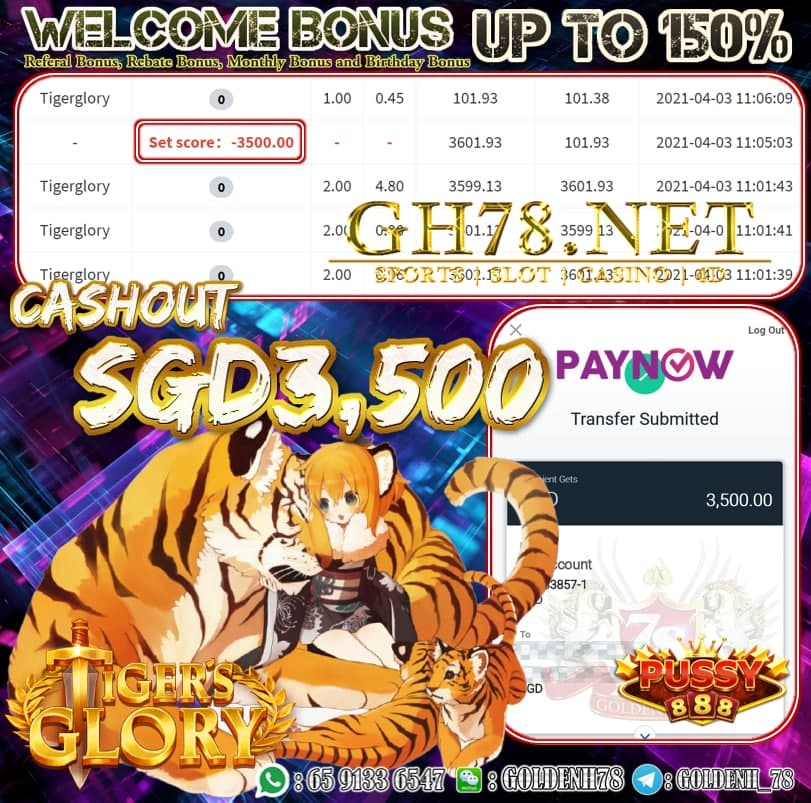 PUSSY888 TIGER GLORY GAME CASHOUT SGD3,500