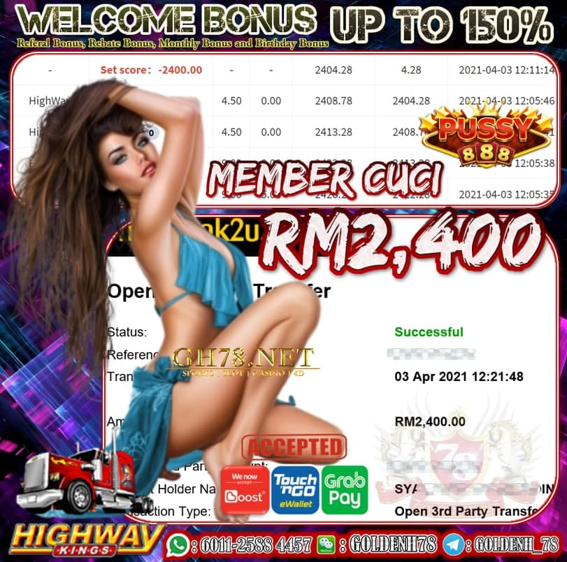 PUSSY888 HIGHWAY GAME CUCI RM2400