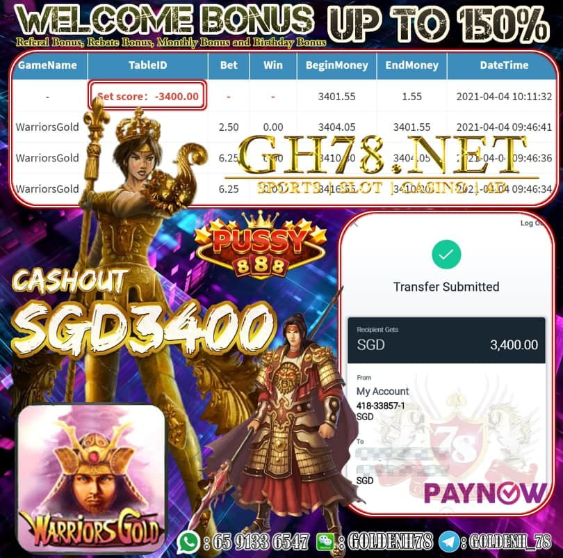 PUSSY888 WARRIORS GOLD GAME OUR MEMBER GETTING CASHOUT SGD3400