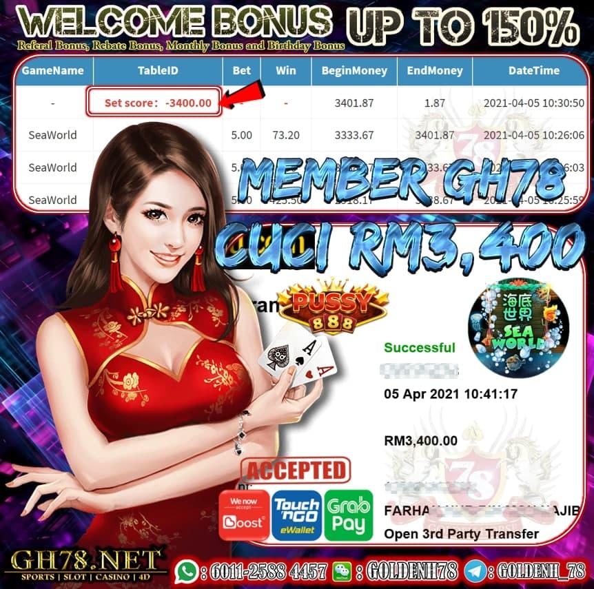 PUSSY888 SEAWORLD GAME CUCI RM3,400