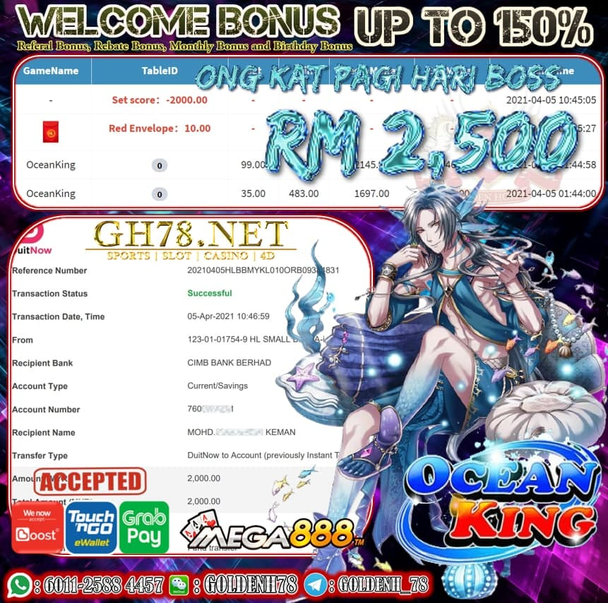 MEGA888 OCEAN KING GAME CUCI RM2,500