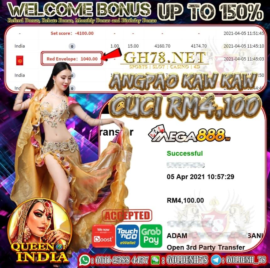 MEGA888 INDIA GAME CUCI RM4,100