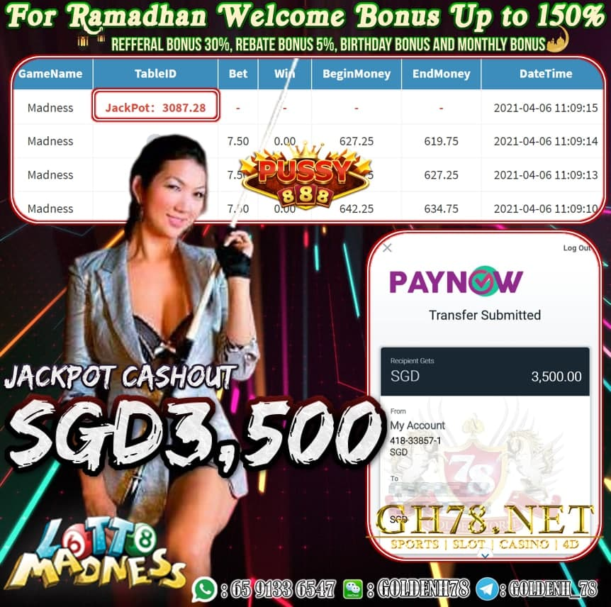 PUSSY888 MADNESS GAME CASHOUT SGD3500
