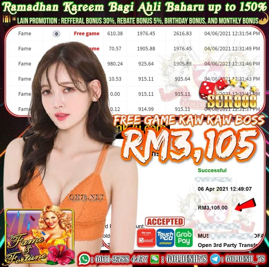 SCR888 FAME GAME CUCI RM3105