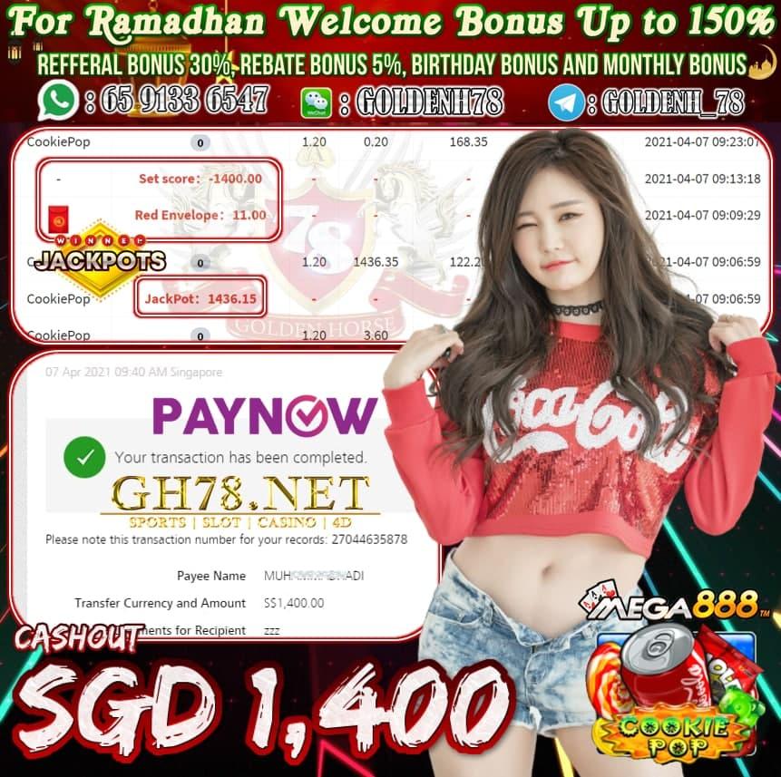 MEGA888 COOKIE POP GAME CASHOUT SGD1,400