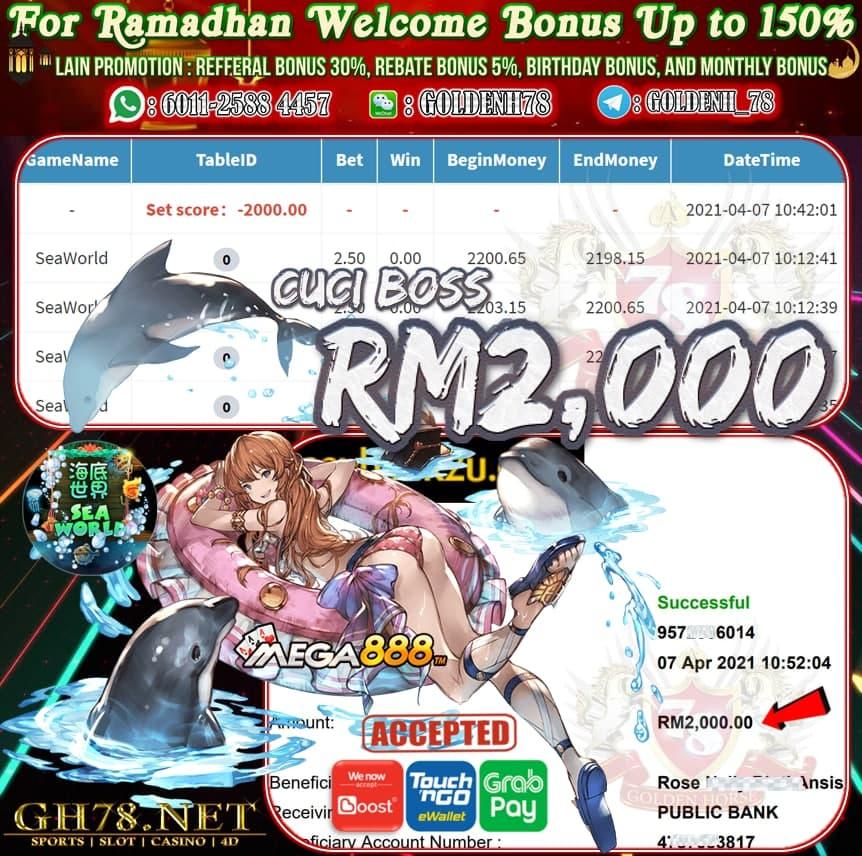 MEGA888 SEA WORLD GAME CUCI RM2,000