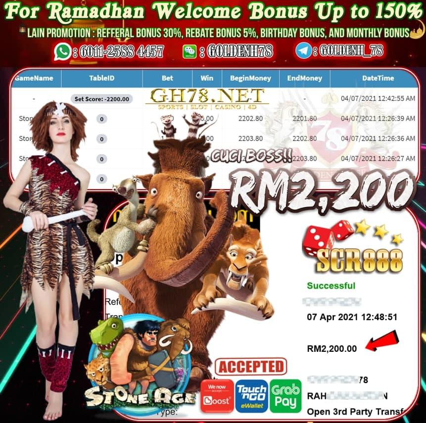 SCR888 STONE AGE GAME CUCI RM2,200