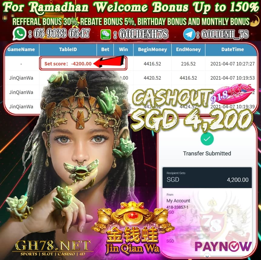 918KISS JIN QIAN WA GAME CASHOUT SGD4,200