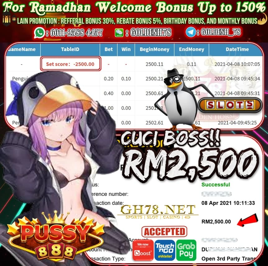 PUSSY888 PENGUIN GAME CUCI RM2,500