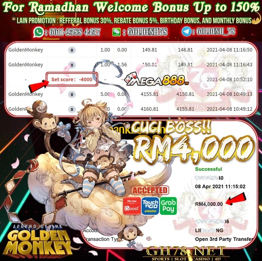 MEGA888 GOLDEN MONKEY CUCI RM4000