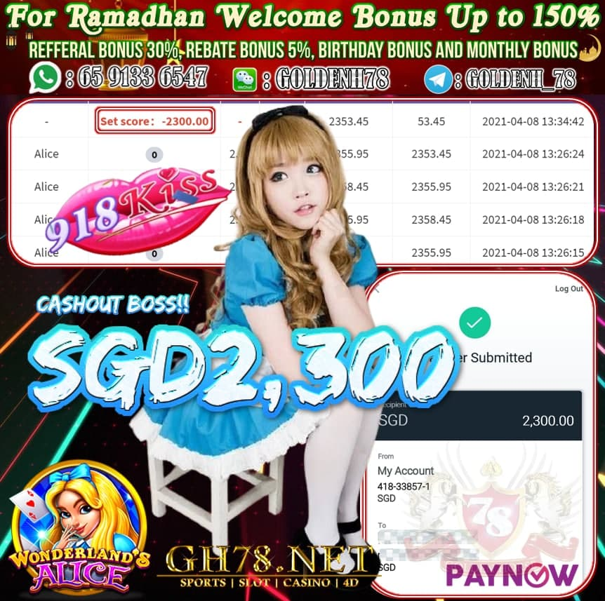 918KISS ALICE GAME CASHOUT $S2,300