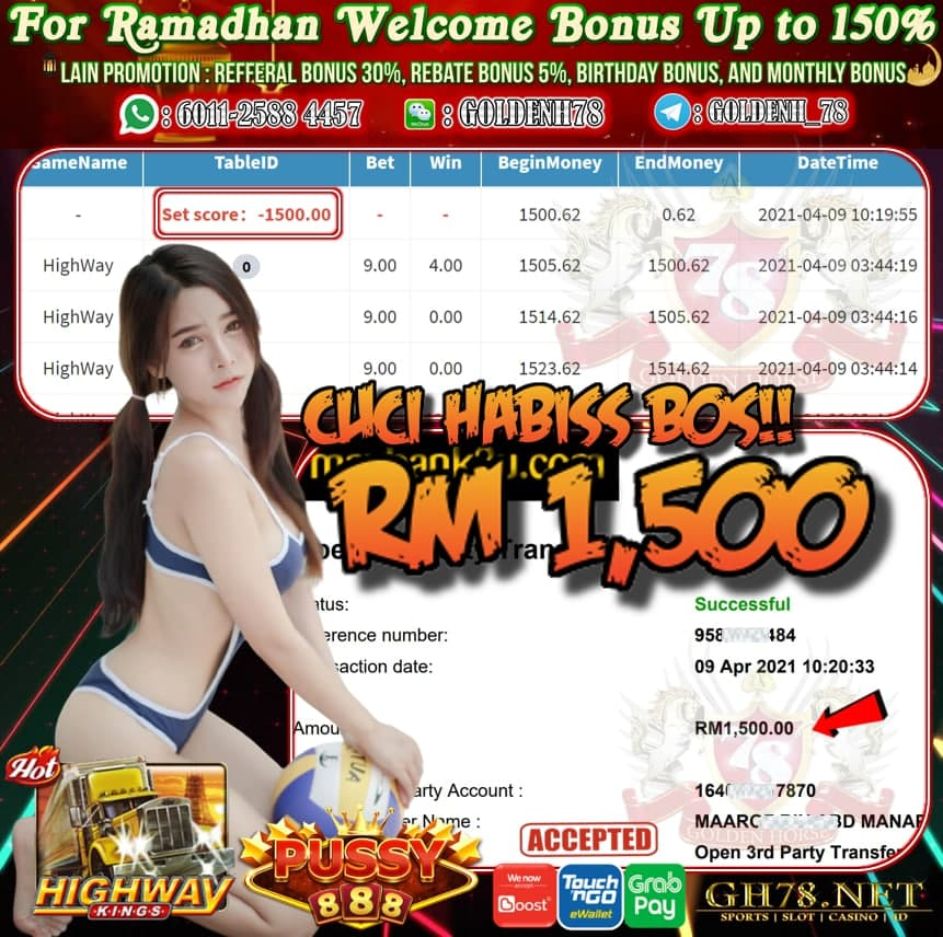 PUSSY888 HIGHWAY GAME CUCI RM1500