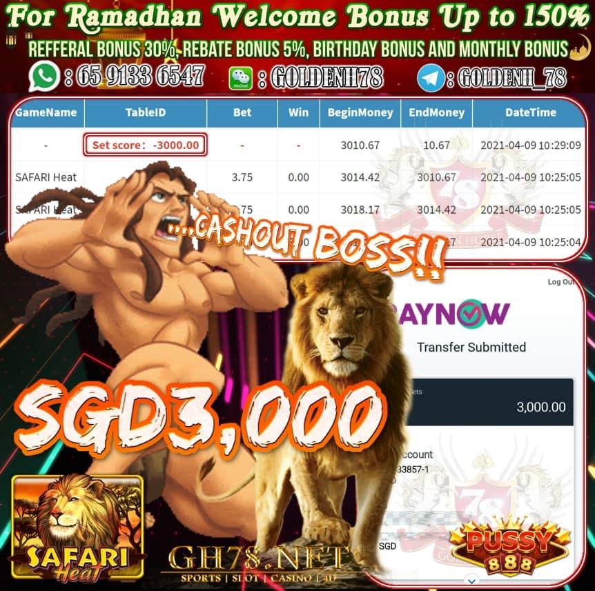 PUSSY888 SAFARI HEAT GAME CASHOUT $S3000
