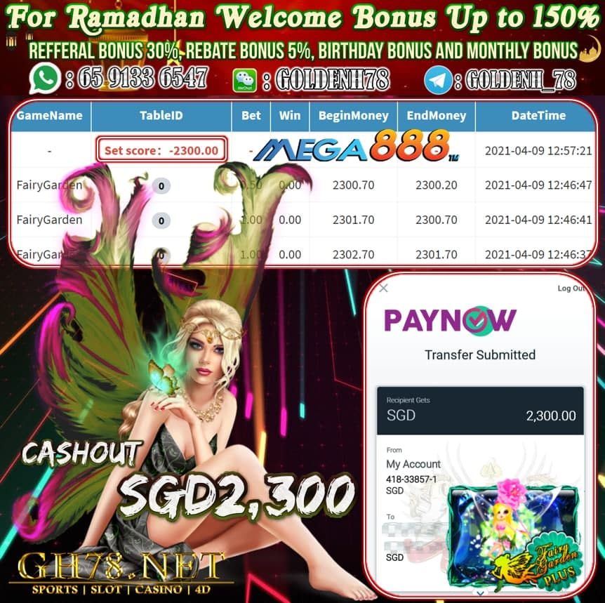 MEGA888 FAIRY GARDEN GAME CASHOUT SGD2300