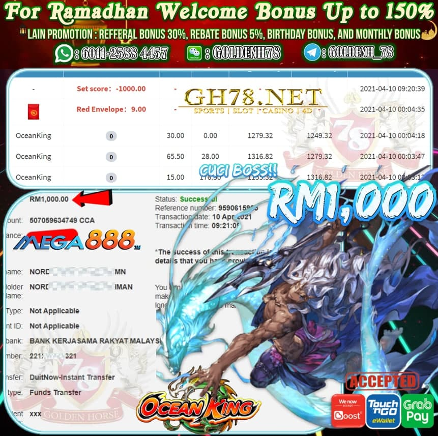MEGA888 OCEAN KING GAME CUCI RM1,000