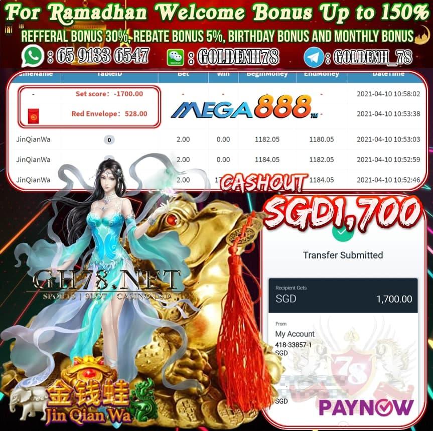 MEGA888 JIN QIAN WA CASHOUT $S1700
