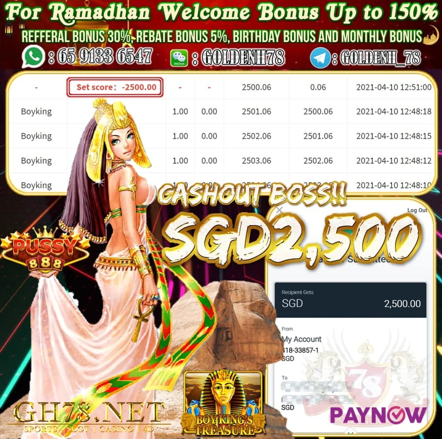 PUSSY888 BOYKING GAME CASHOUT $S2500