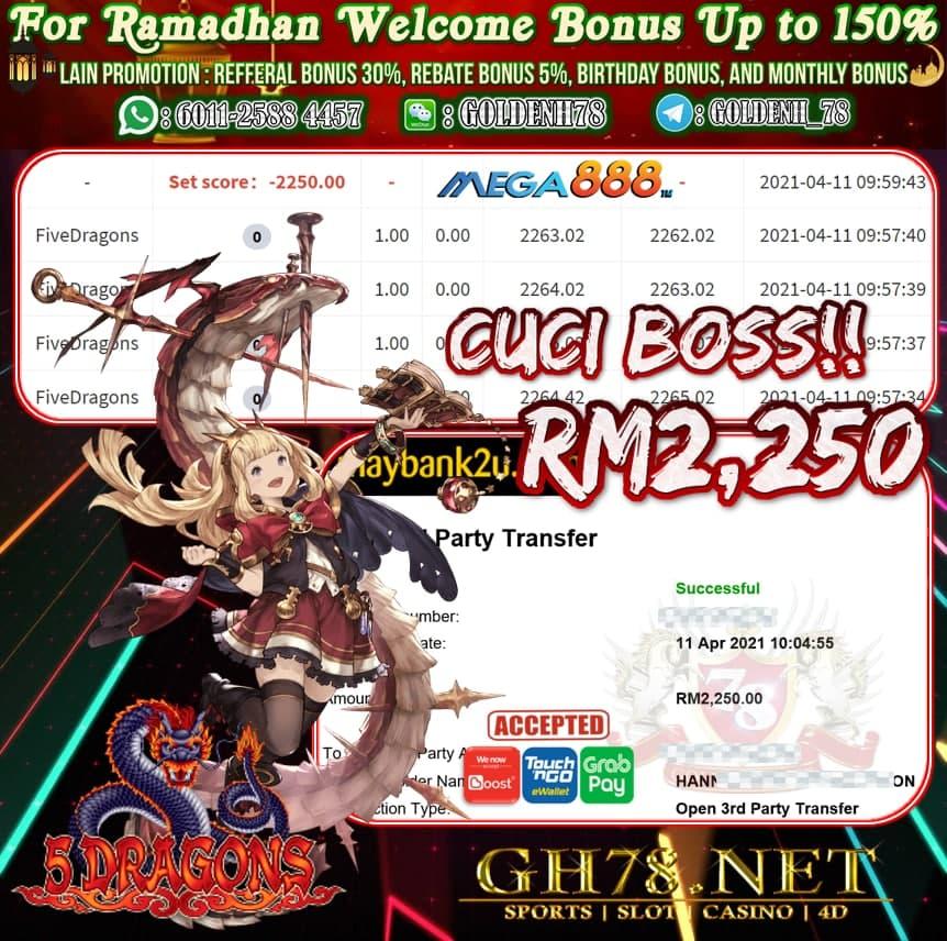 MEGA888 FIVE DRAGONS GAME CUCI RM2,250
