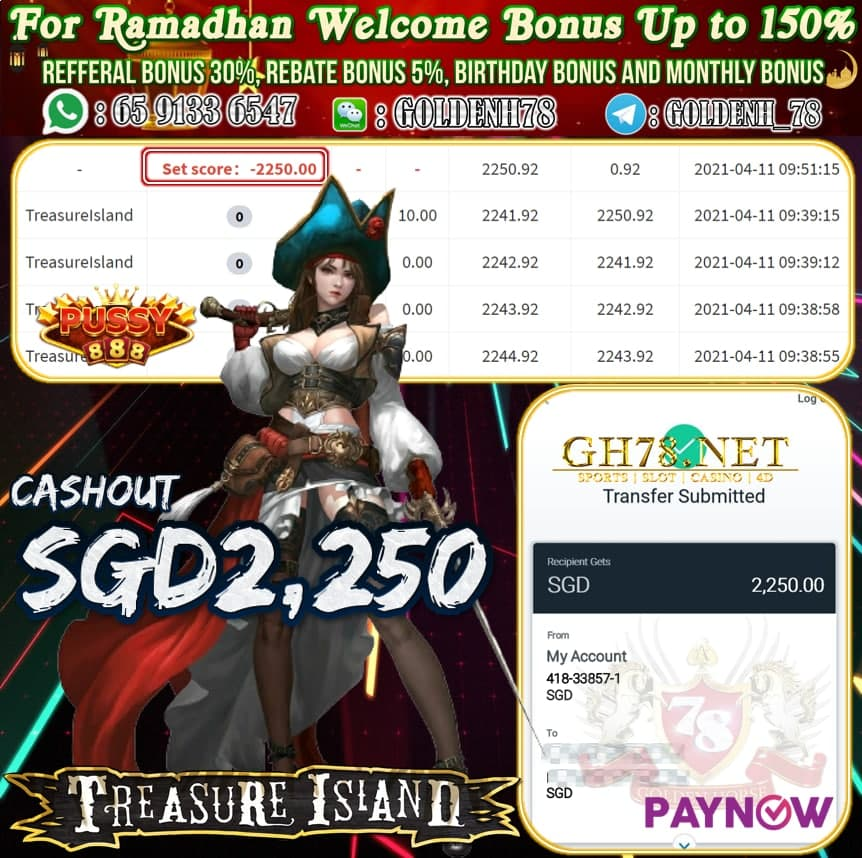 PUSSY888 TREASURE ISLAND GAME CASHOUT SGD2,250