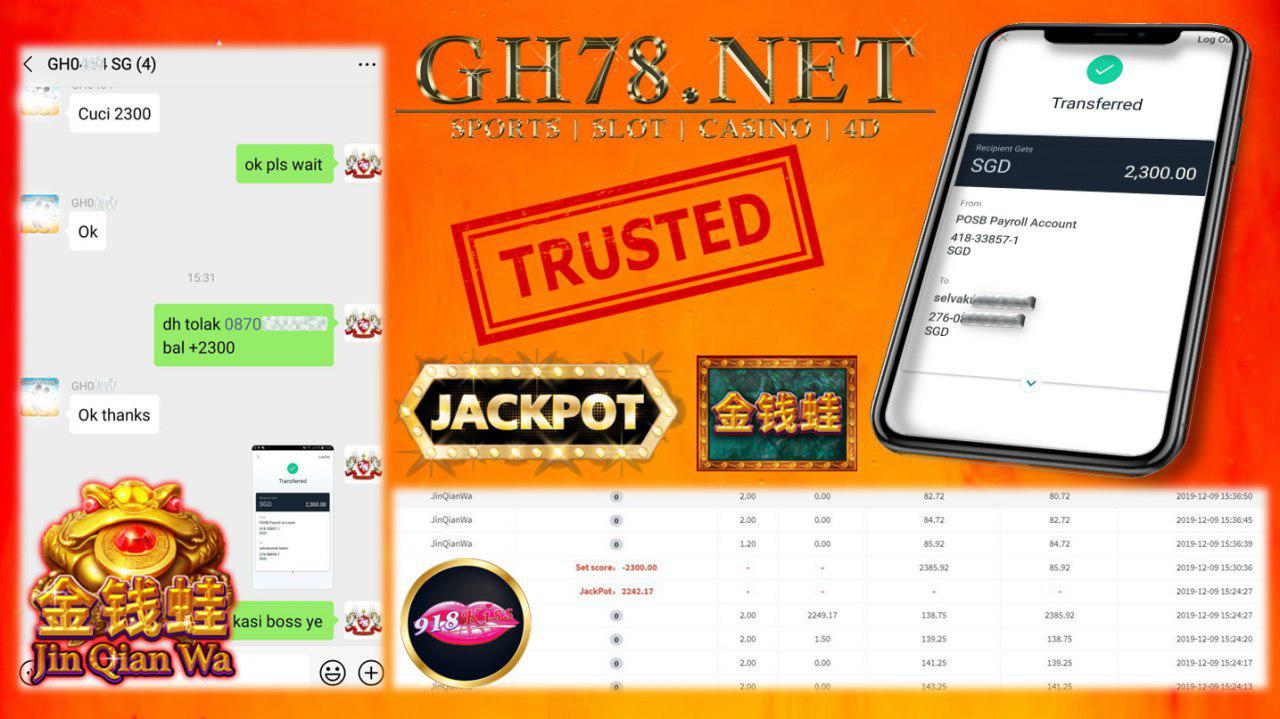 SG MEMBER PLAY 918KISS JINQIANWA GET JACKPOT  WORTH $2242 !! TOTAL CASHOUT $2300 !!