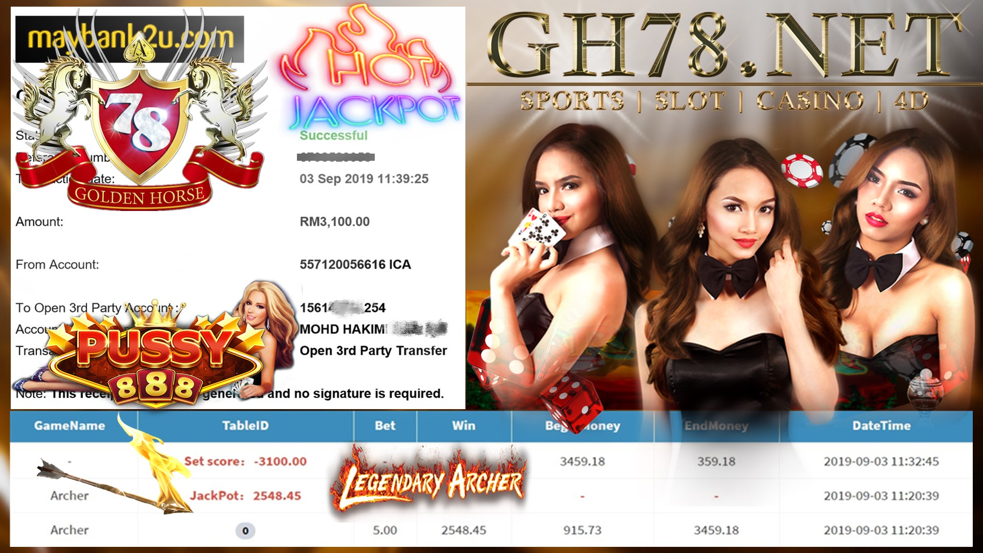 MEMBER MAIN GAME PUSSY888 FT.ARCHER MINTA OUT RM3,100