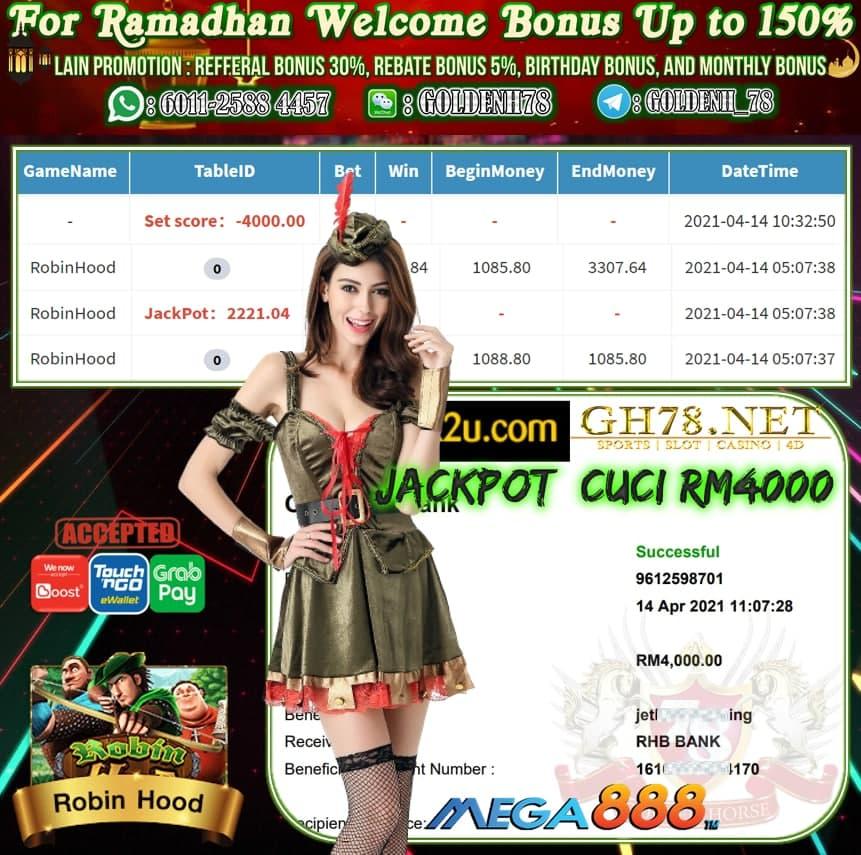 MEGA888 ROBIN HOOD GAME JATUH JACKPOT MEMBER MINTA CUCI RM4,000