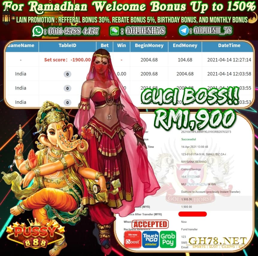 PUSSY888 INDIA GAME CUCI RM1,900
