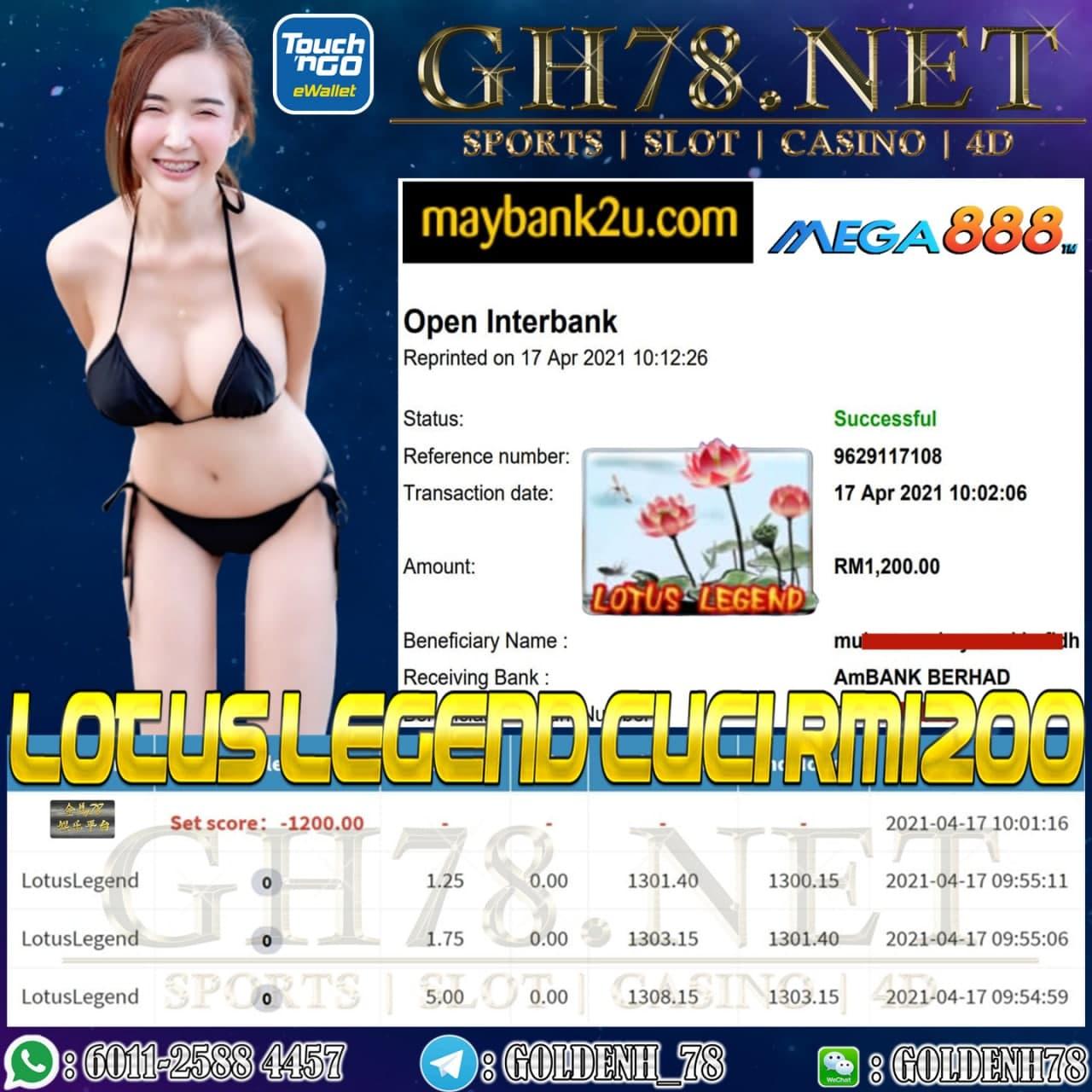 MEGA888 LOTUS LEGEND GAME CUCI RM1200