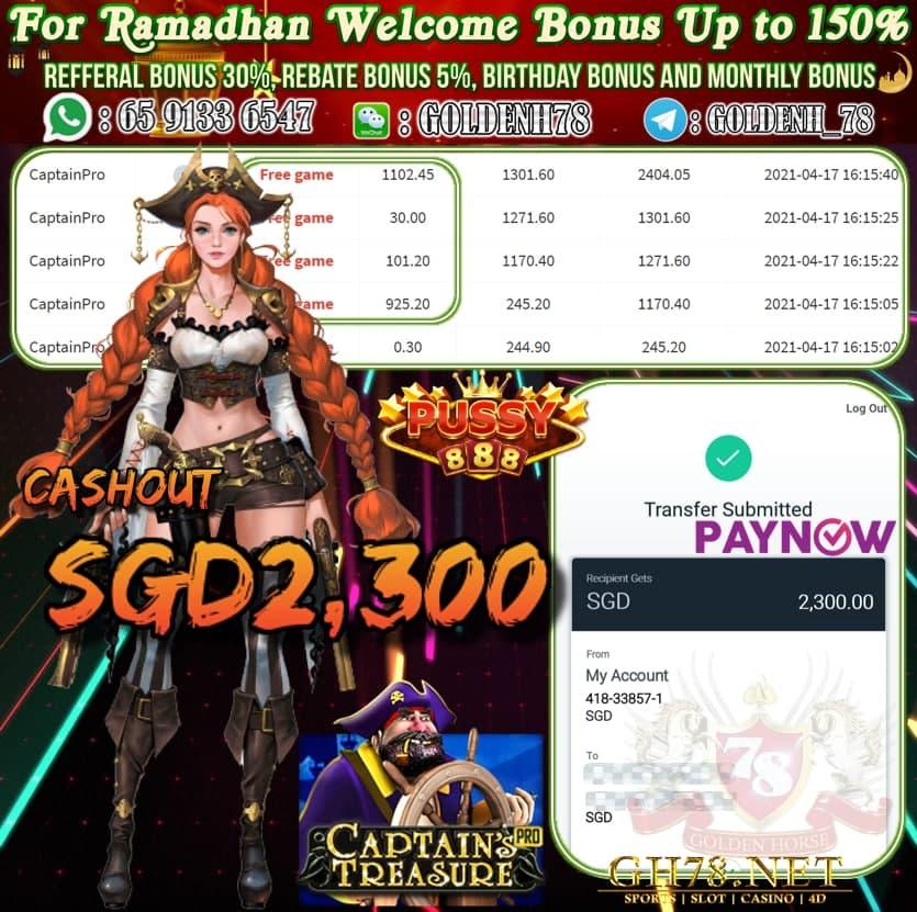 PUSSY888 CAPTAIN PRO GAME CASHOUT $S2300