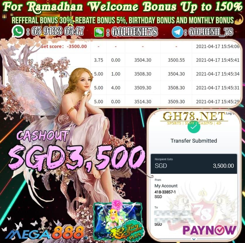 MEGA888 FAIRY GARDEN GAME CASHOUT SGD3500