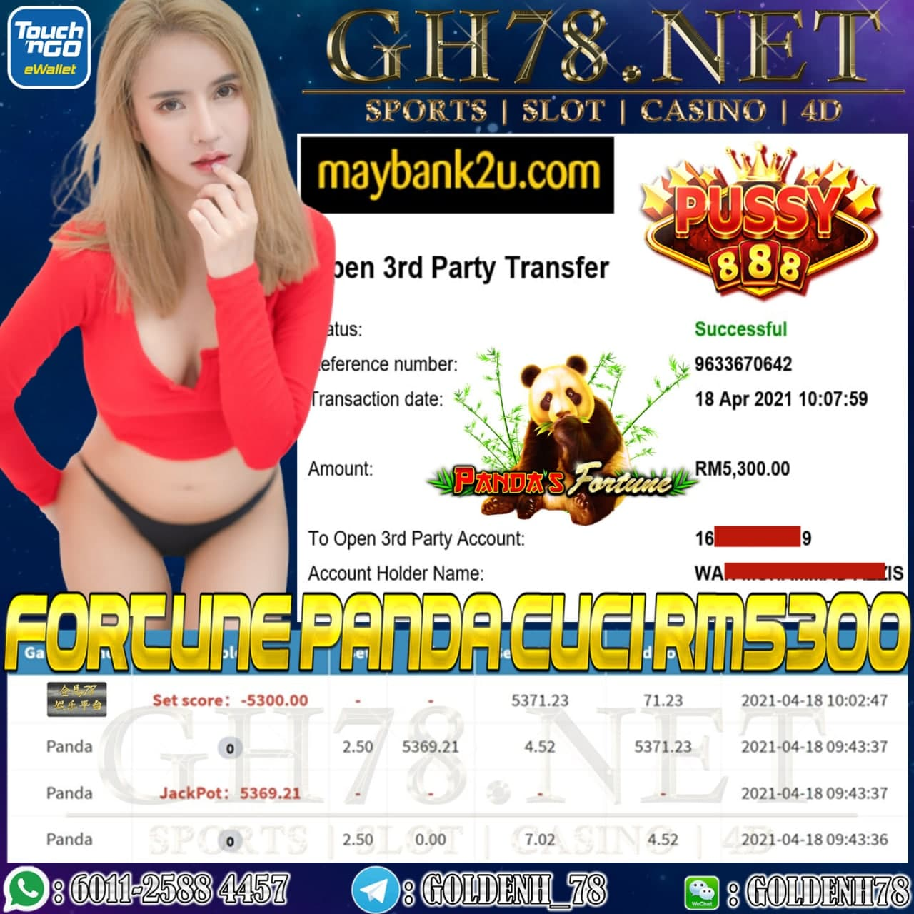 PUSSY888 PANDA GAME JATUH JACPOT CUCI RM5.300