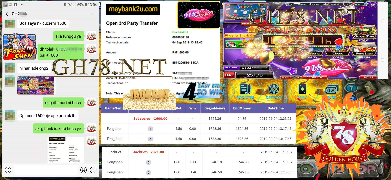 MAIN GAME 918KISS FT.FENGSHEN DPT JACKPOT MINTA OUT RM1,600