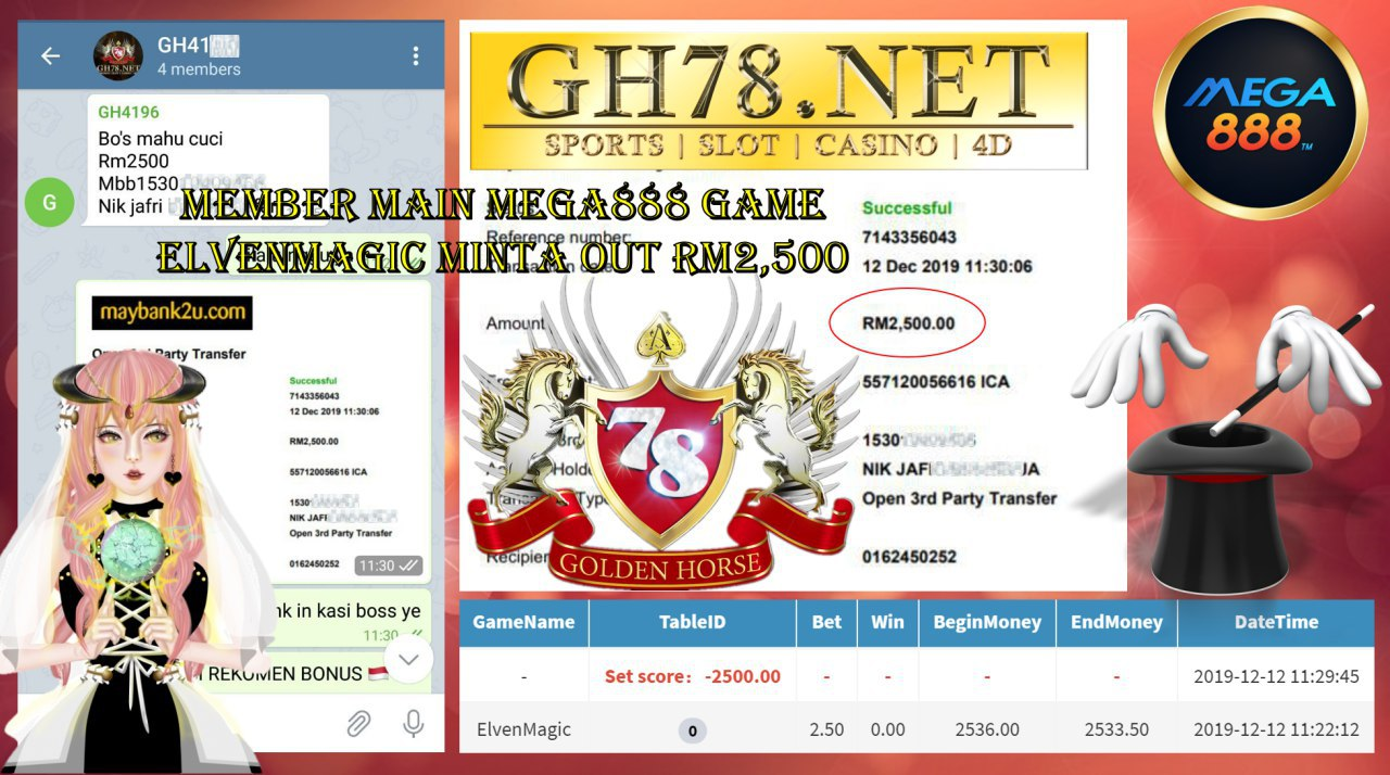 MEMBER MAIN MEGA888 GAME ELVENMAGIC MINTA OUT RM2500