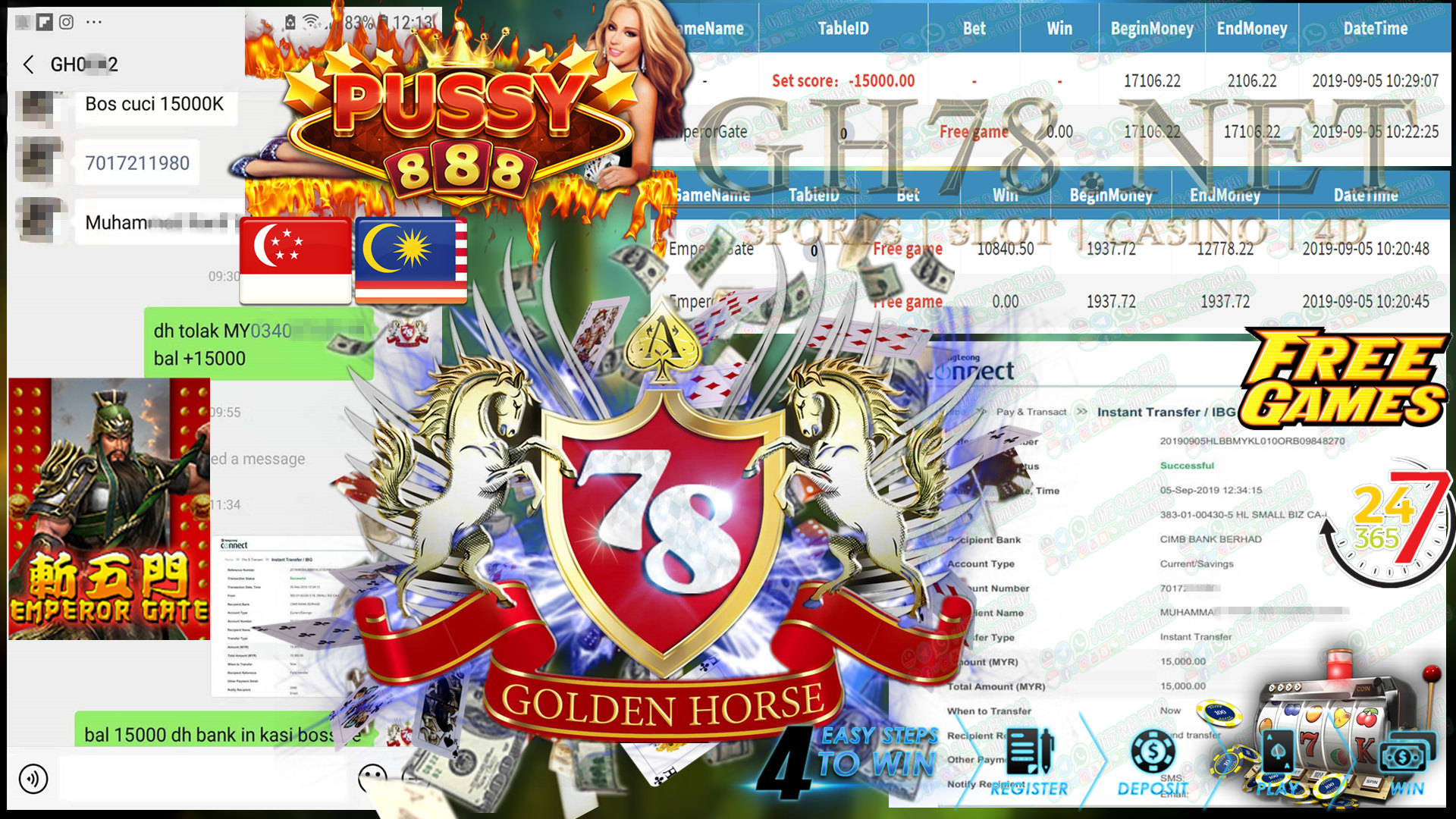 MAIN GAME PUSSY888 FT.EMPERORGATE MINTA OUT RM15,000