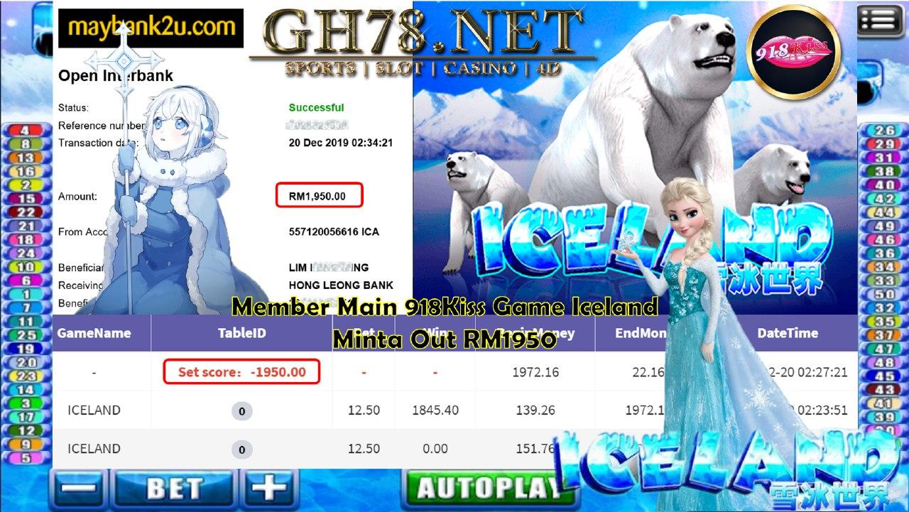 918KISS MAIN ICELAND MINTA CUCI RM1950!!!