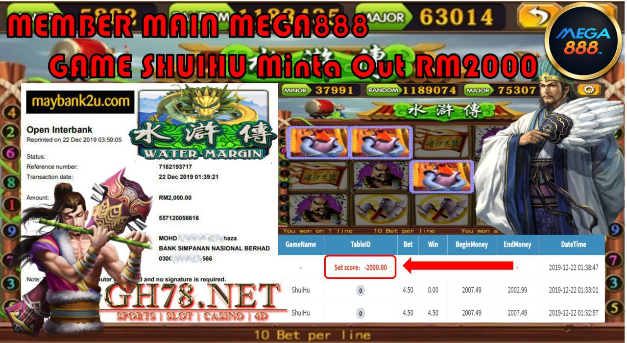 MEMBER MAIN MEGA888 GAME SHUIHU MINTA OUT RM2000!!!!