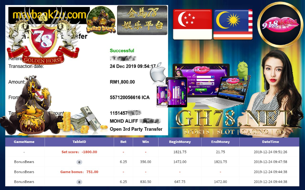 MEMBER MAIN 918KISS GAME BONUSBEARS MINTA OUT RM1800!!!!