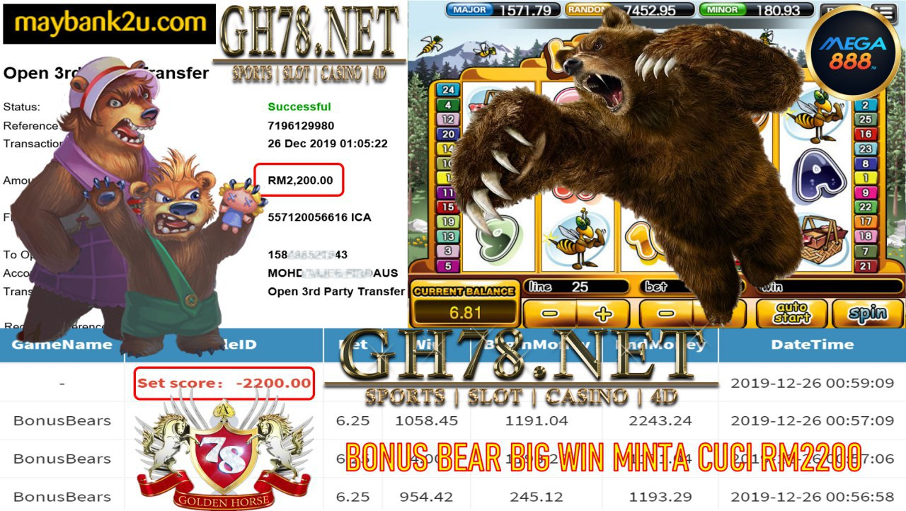 MEMBER MAIN MEGA888 GAME BONUSBEARS MINTA OUT RM2200!!!