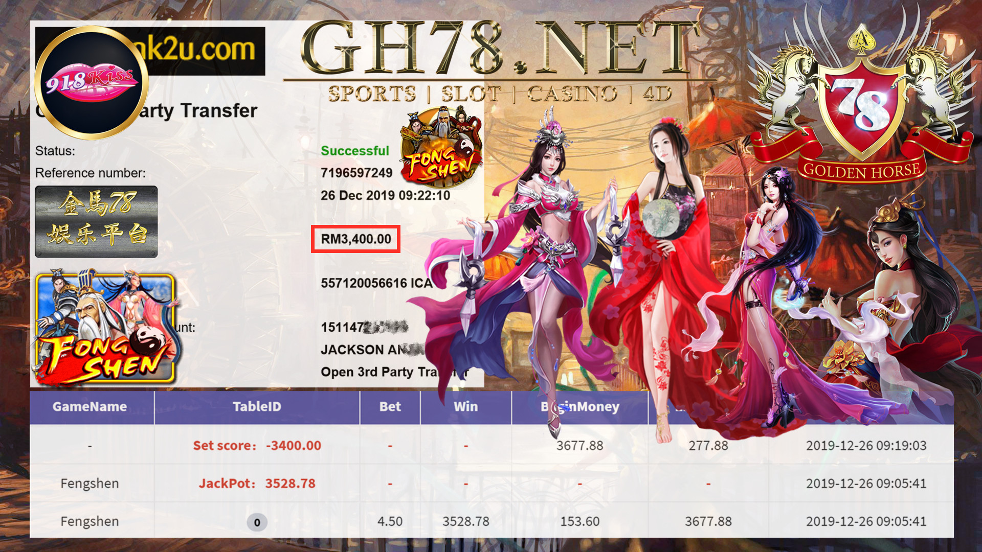 MEMBER MAIN 918KISS GAME FENGSHEN MINTA OUT RM3400!!!