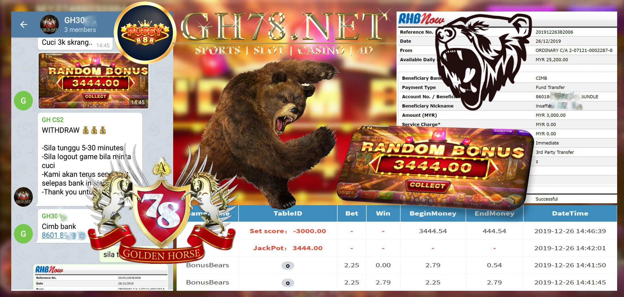 MEMBER MAIN PUSSY888 GAME BONUSBEARS MINTA OUT RM3000!!!