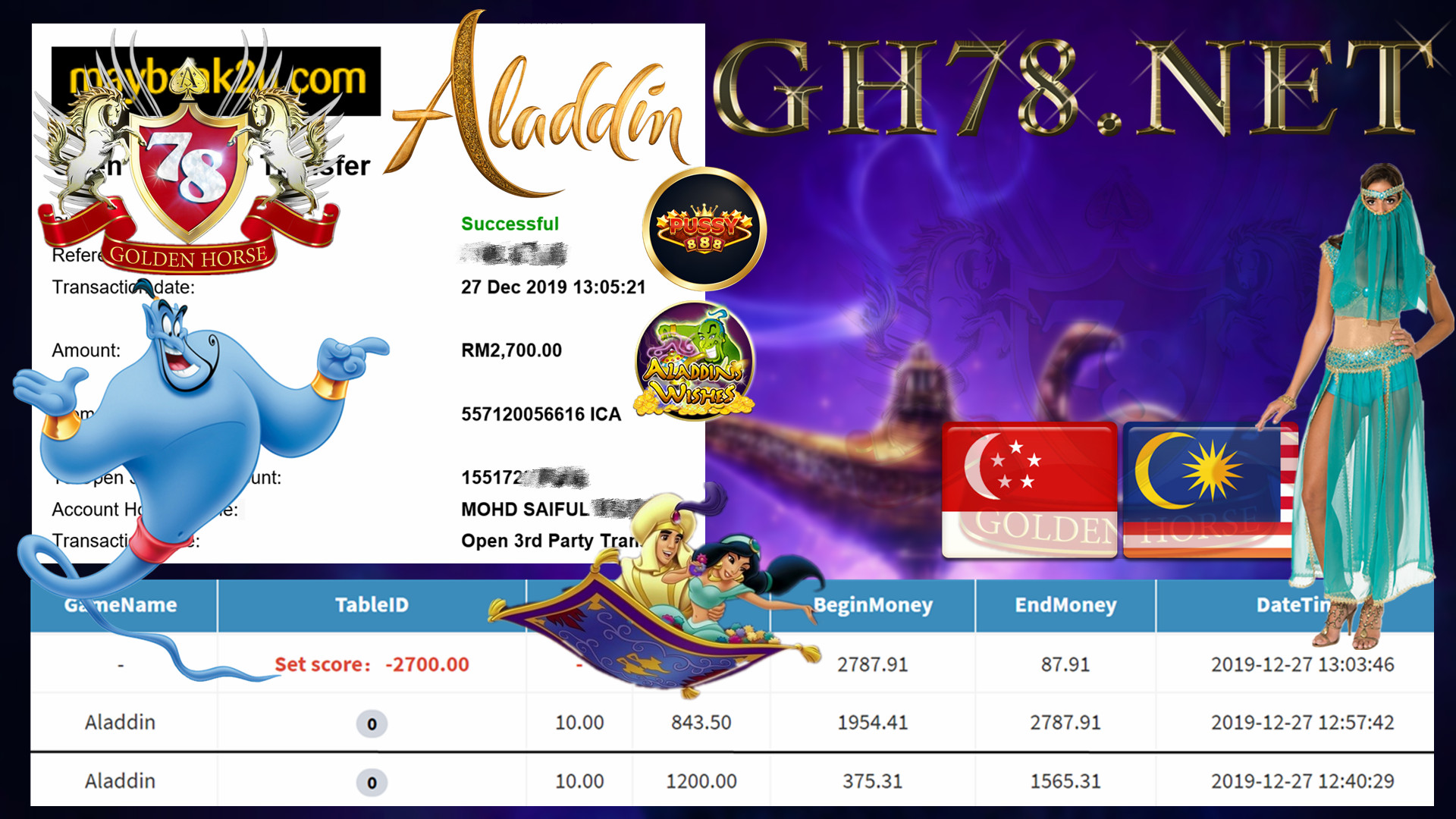 MEMBER MAIN PUSSY888 GAME ALADIN MINTA OUT RM2700!!!