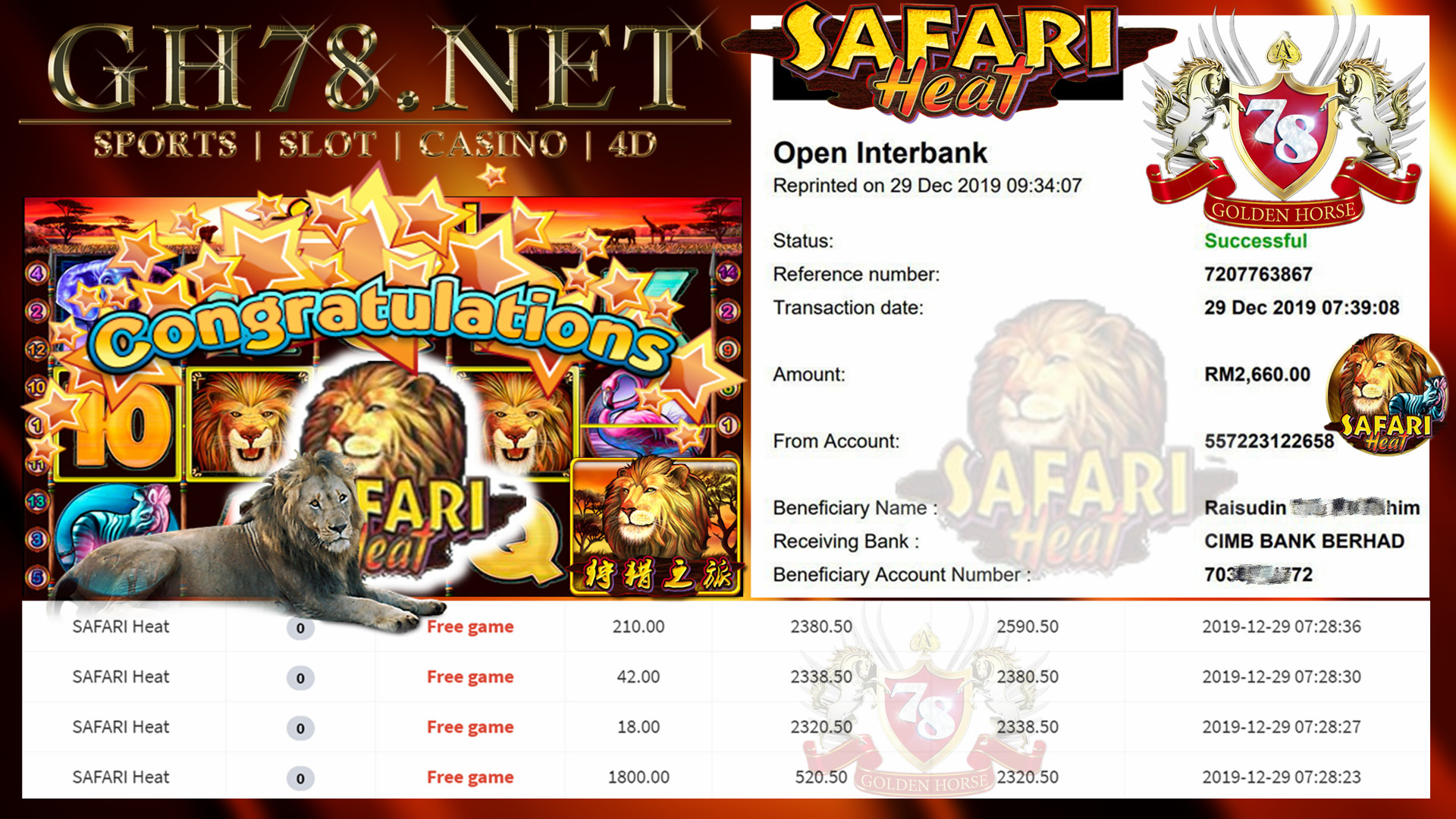 MEMBER MAIN 918KISS GAME SAFARI HEAT MINTA OUT RM2660!!!